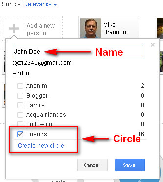 Google+ Circles: Enter person name
