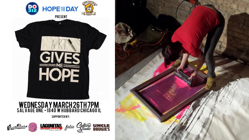 Live screen printing at charity benefit.