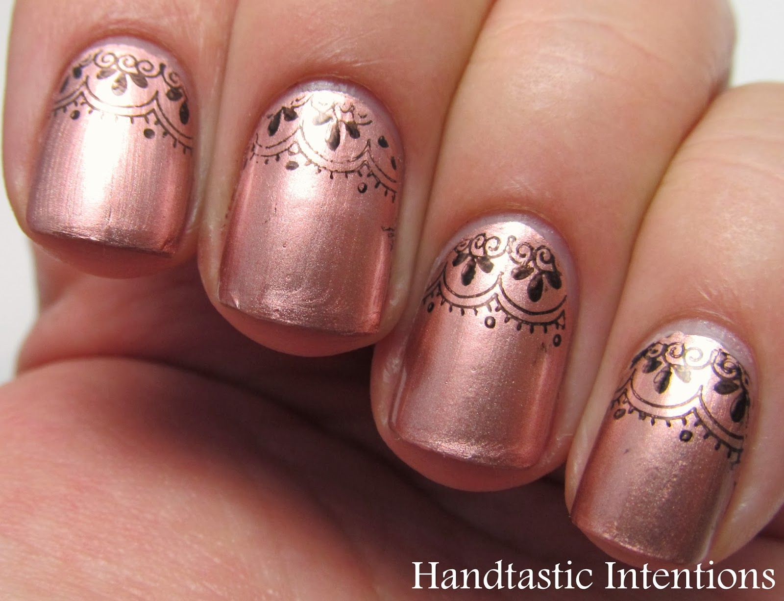 Handtastic Intentions Nail Art Rose Gold Lace