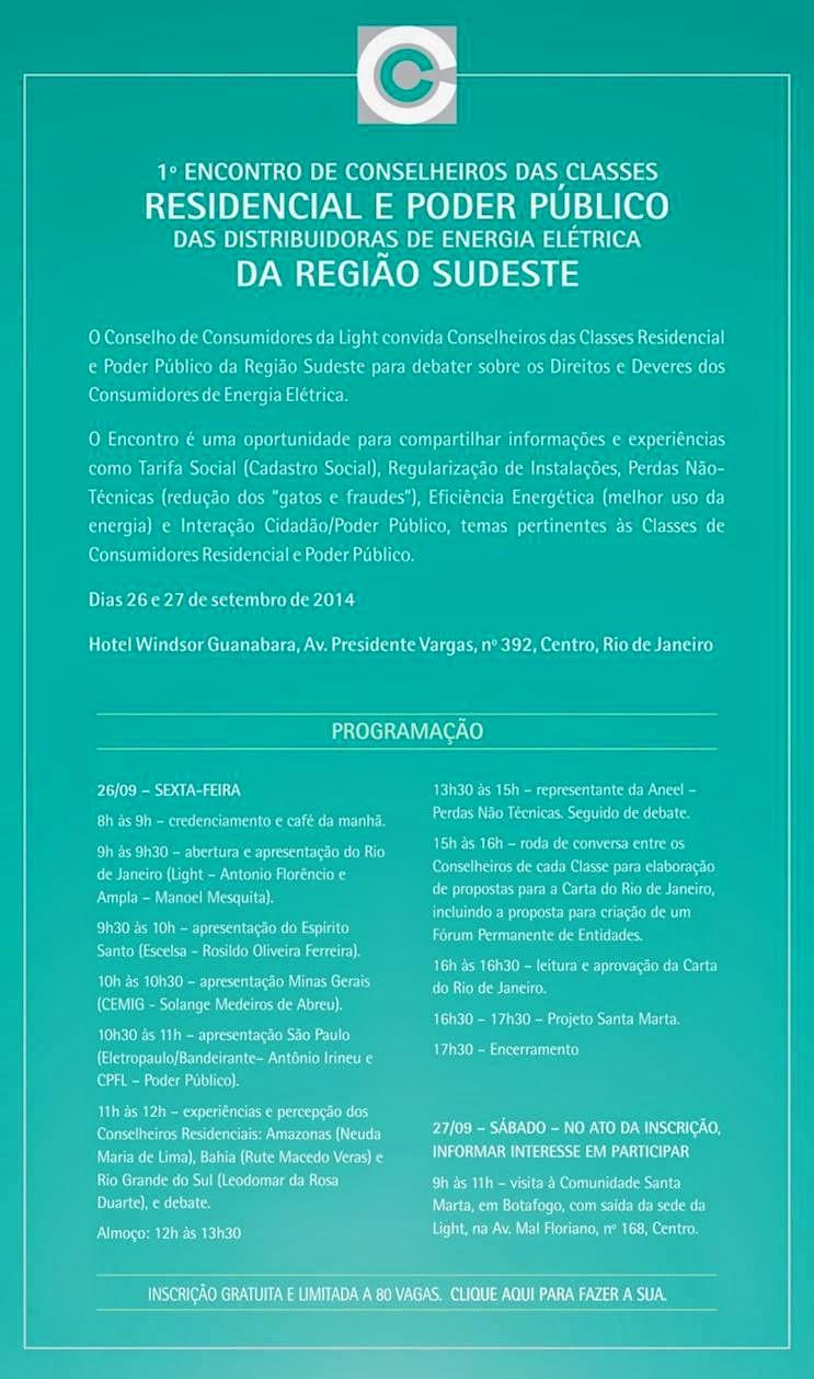 1º Encontro de Conselheiros das Classes Residencial e Poder Público das Distribuidoras de Energia Elétrica da Região Sudeste.