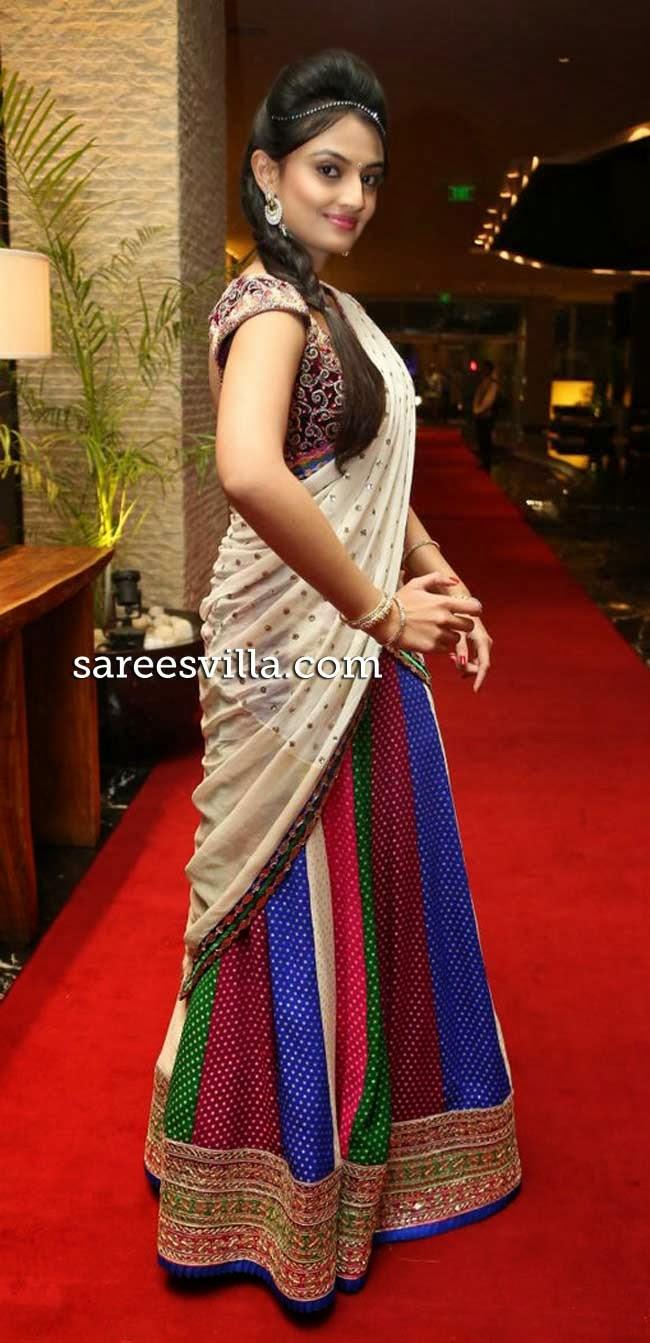 Nikitha Narayan in designer half saree