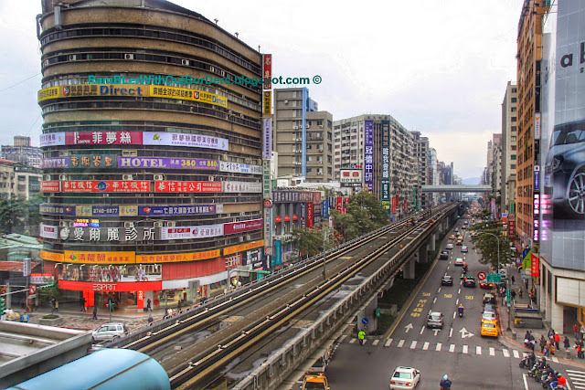 Aerial view of the street from Zhongxiao Fuxing Station, Taipei, Taiwan