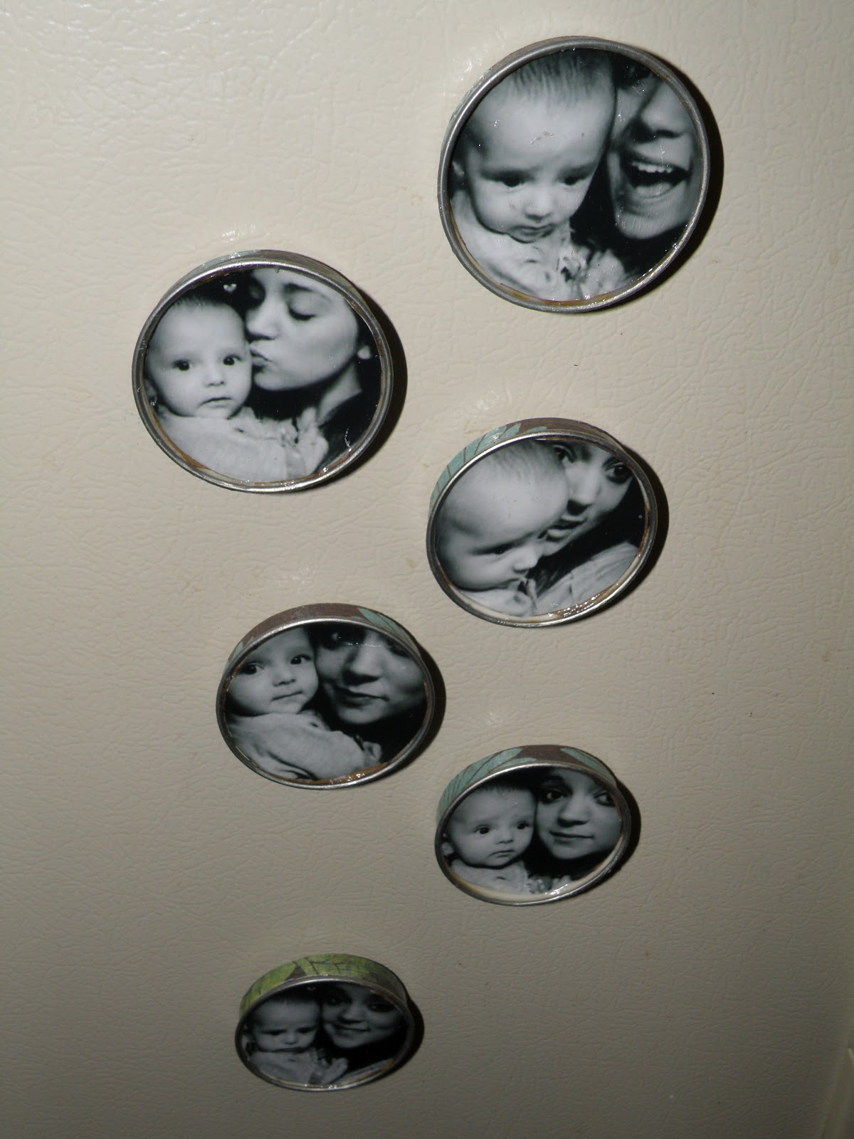 Oh how crafty picture magnets made from baby food jar lids - What you can do with magnets ...