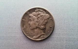 1944 Silver Mercry Dime Front Obverse Value