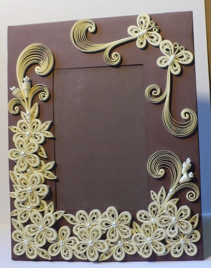 Let\'s create: Decorated Foam Board Quilling Wedding Photo Frame