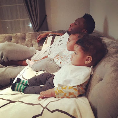 Adorable Photo of Mikel Obi & his Twin Daughters Waiting for Christmas Dinner