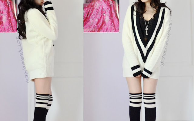 Ulzzang-inspired outfit featuring the white preppy oversized V-neck sweater from SheInside, a key pendant necklace, striped over-the-knee socks, and a lace bralette.