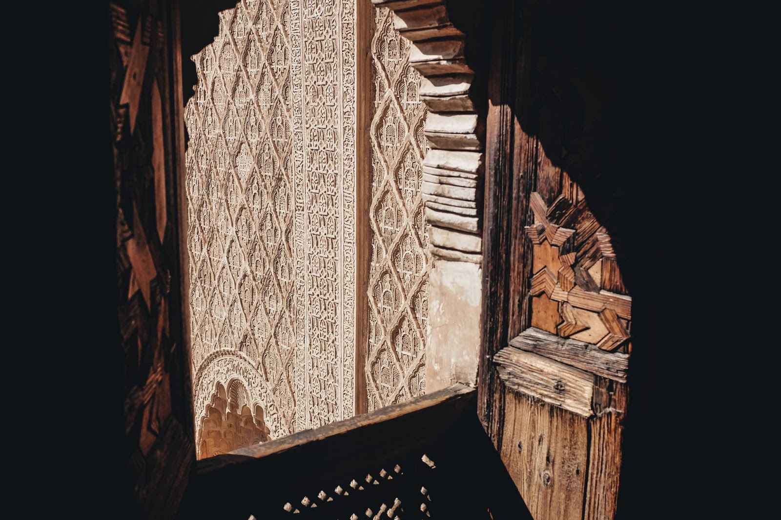 Shot from a dorm room in The Ben Youssef Madrasa Marrakech Morocco