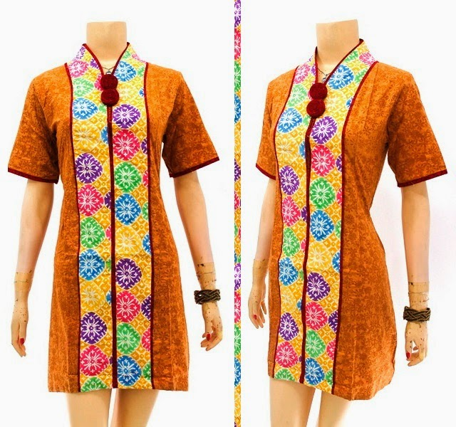 DB3746 Model Baju Dress Batik Modern Terbaru 2014