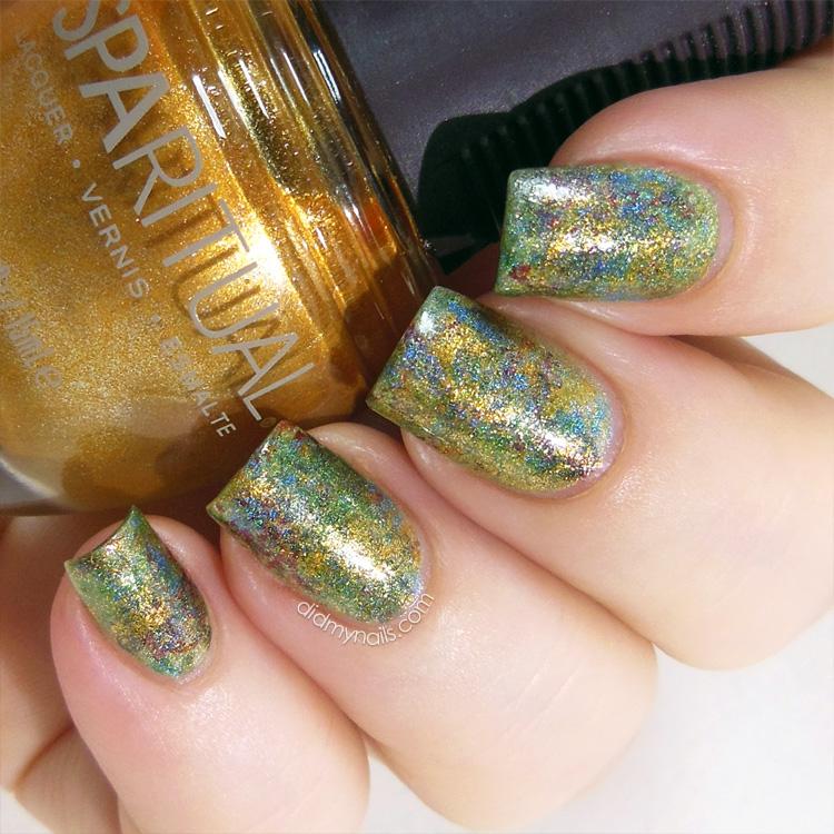 holographic saran wrap manicure