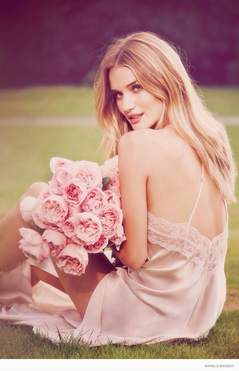 Rosie Huntington-Whiteley wears a negligee for the 'Rosie for Autograph' fragrance campaign