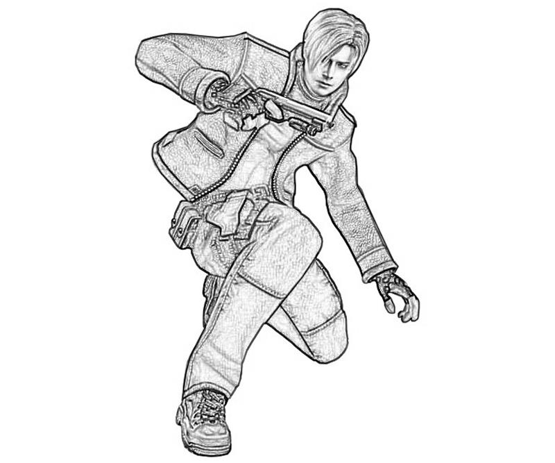 printable-resident-evil-leon-s-kennedy-action-coloring-pages