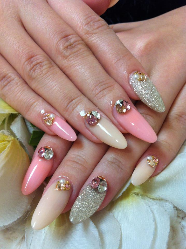 Pink/beige/silver Mix Nails by
