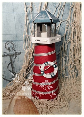 Pockets of inspiration cherry stripe lighthouse for 3d paper lighthouse template
