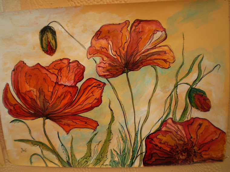 Poppies PA4, watercolor, signed Joli, A4