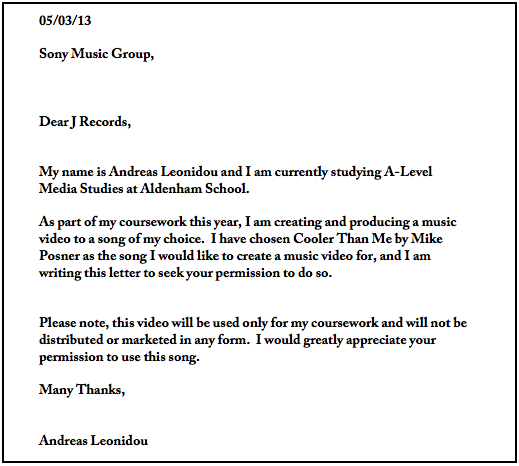 Letter of permission | Andreas Leonidou A2 Media