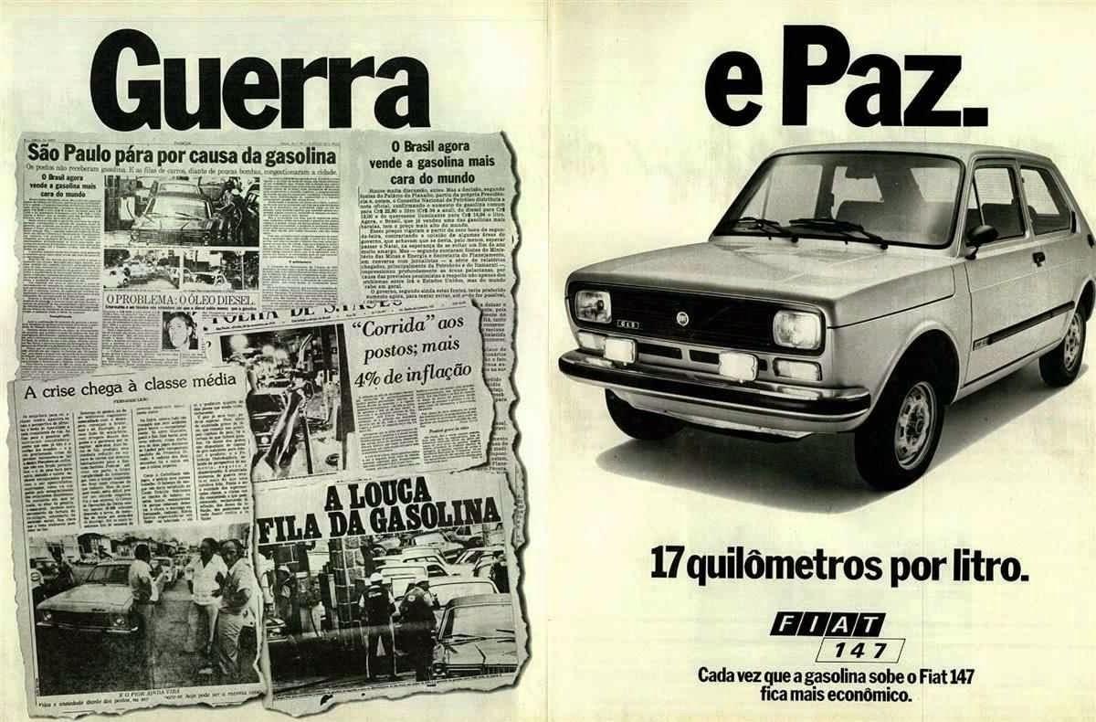 Propaganda do Fiat 147 com o contraponto 'guerra' e 'paz', diretamente de 1978.