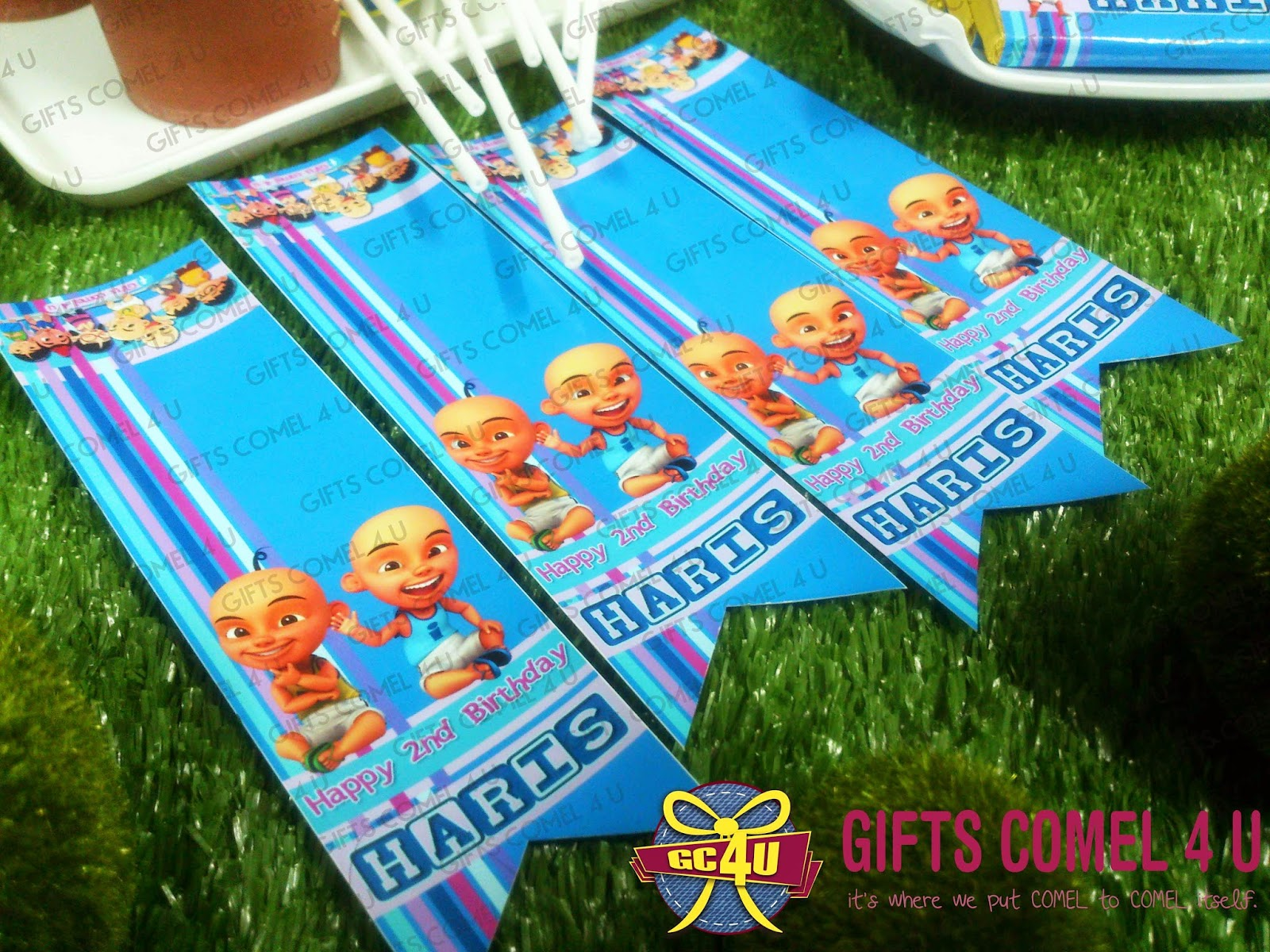 Gifts comel 4 u ordered by faerah nasir upin ipin blue upin ipin bluegreentheme medium chocolates with personalized wrapper stopboris Image collections
