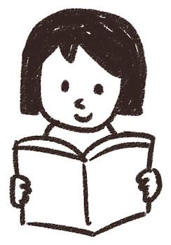 読書をしている女の子のイラスト 白黒線画