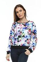 Bluza din vascoza cu imprimeu si garnitura neagra B54 (Ama Fashion)