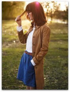 Mini Skirt with Gray Coat