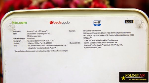 HTC One M7 vỏ hộp