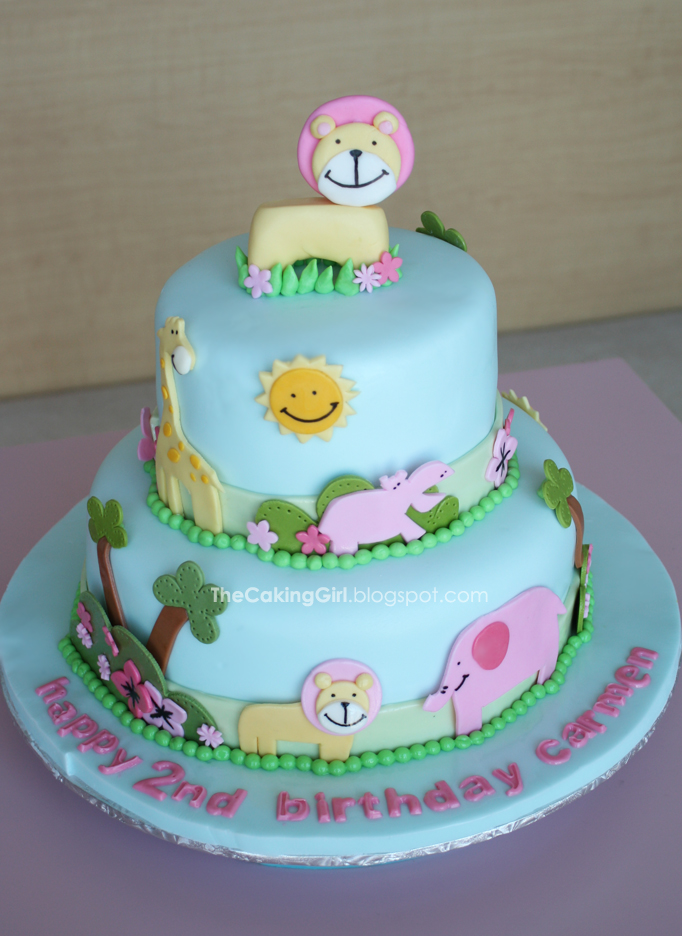 Thecakinggirl fondant decorating cute animal cake for Animal cake decoration