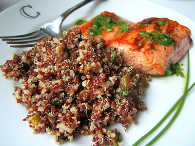 Stacey Snacks: Grilled Salmon w/ Red Quinoa & Pistachios