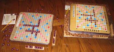 Real Scrabble Board next to Scrabble Board Cake 2