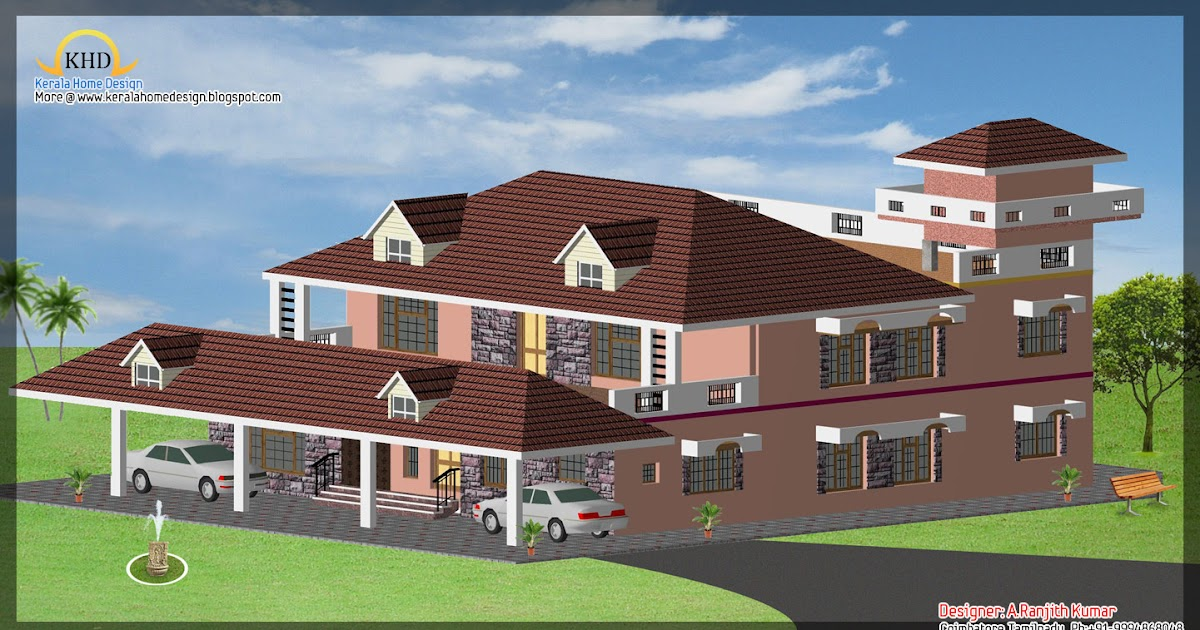 3 house elevations over 2500 sq ft kerala home design for Home designs 2500 sq ft