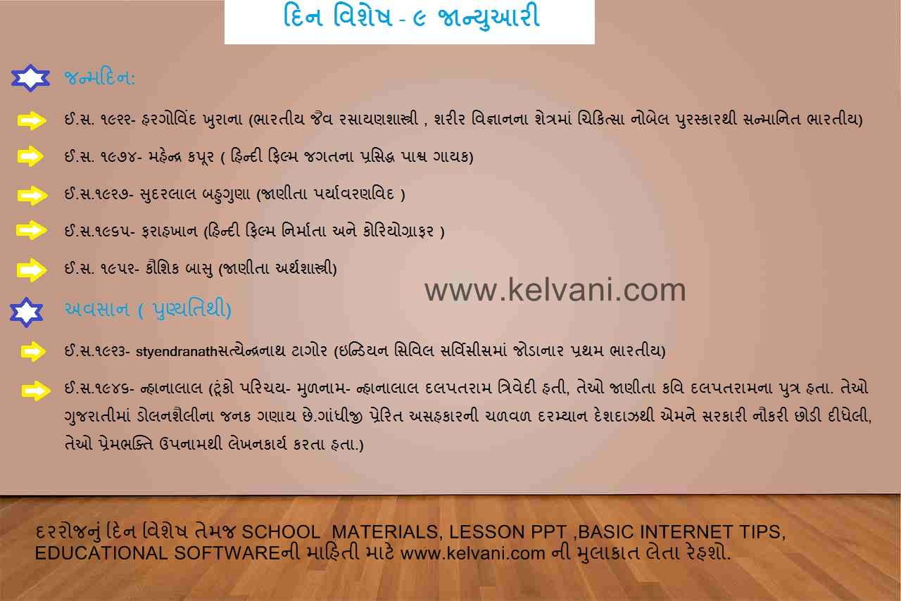 DIN VISHESH 9 JANUARY ,TODAYS HISTORY IN GUJARATI LANGUAGE BY KELVANI COM