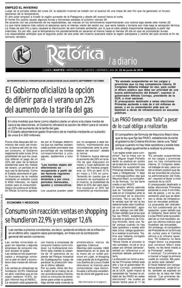 RETÓRICA EDICIÓN IMPRESA DEL 25-6-2019