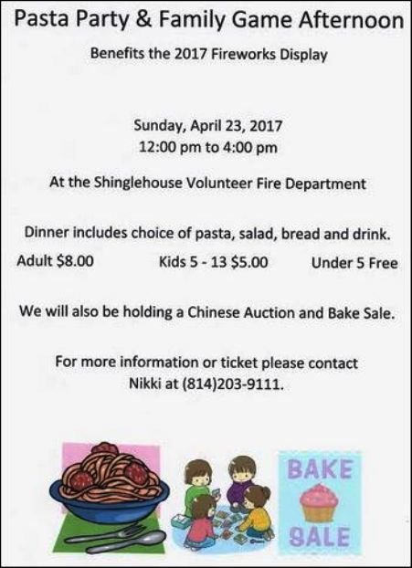 4-23 Pasta Party/Family Games Shinglehouse VFD