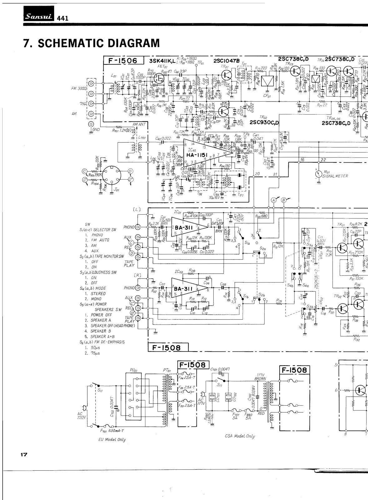 Sansui  Fm Stereo Receiver Schematic Diagram
