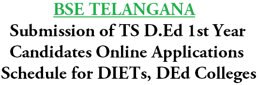 Submission of D.Ed 1st Year Candidates Online Applications Schedule for DIETs, DEd Colleges