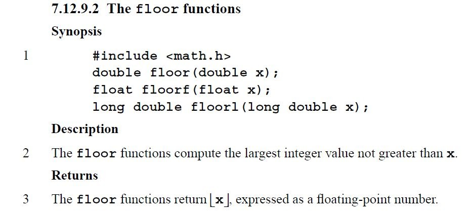 Lessons in coding the floor function in c c for Floor function