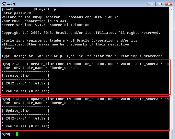 Linux: MySQL - Ver la fecha de creación y actualización de una tabla