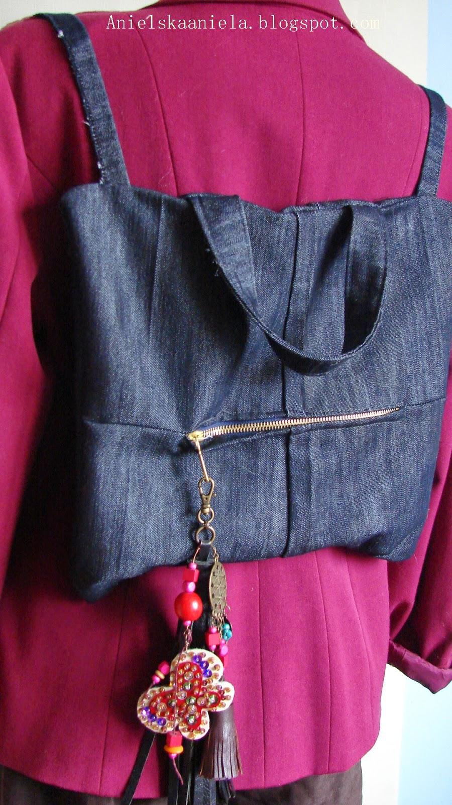Diy denim backpack plecak dżinsowy z recyclingu diy