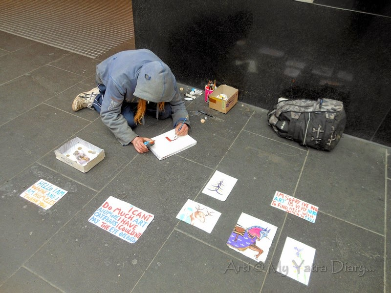 An artist at work on the streets, Melbourne