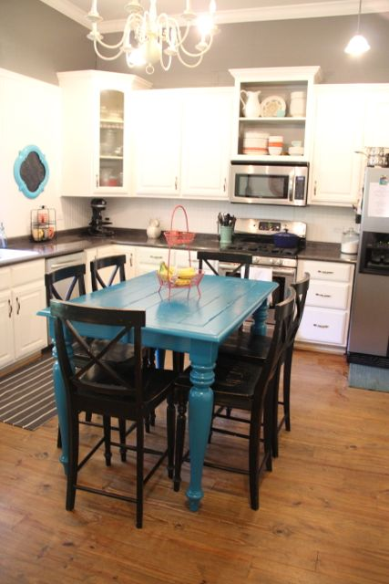 Biblical Homemaking Thrifty Turquoise Dining Table Redo Before And After