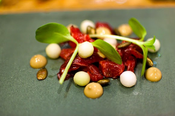 Ox in coal oil , pumpkin seed, kohlrabi and sunflower shoots. The ...