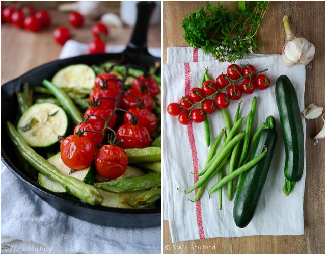 Zucchini-Bohnen-Gemüse mit Tomaten