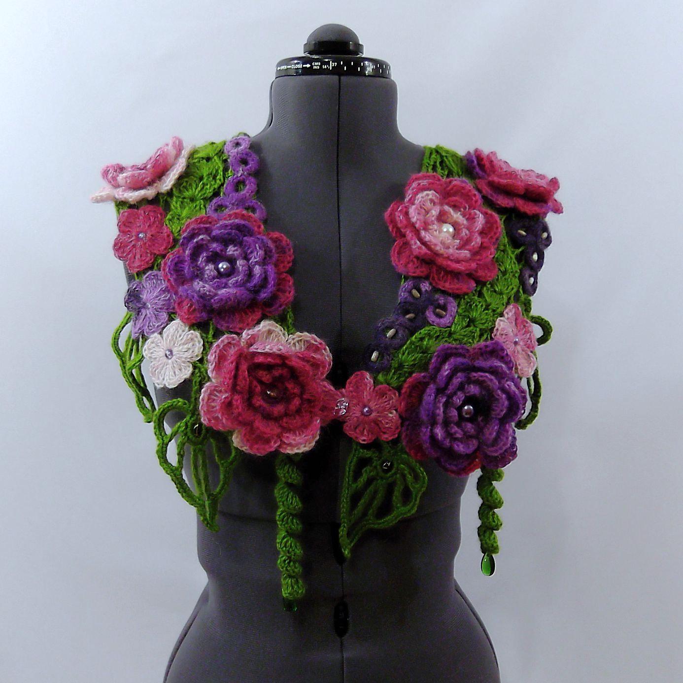 Вязание крючком шарфы цветочные 46