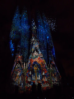 Light show on Gaudi's La Sagrada Familia in Barcelona for La Merce festival