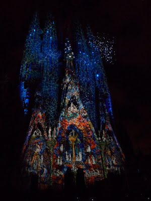 Gaudi's Sagrada Familia cathedral in Barcelona, lit up for La Merce festival