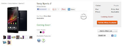 Xperia Z Coming Soon in India via InfiBeam