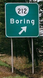 Boring road sign
