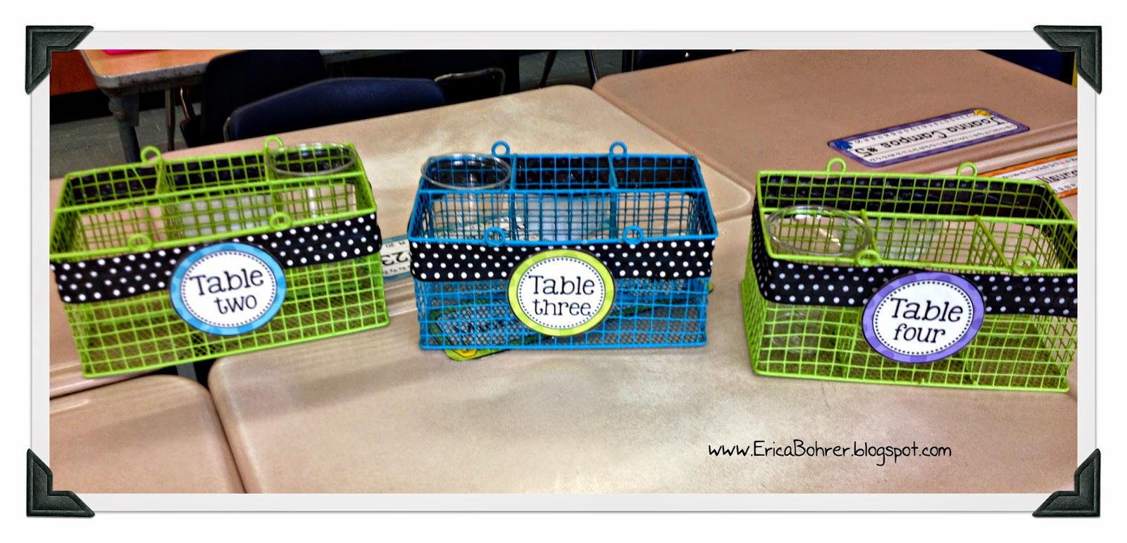 These table caddies are made from picnic utensil organizers from CVS.  I then added ribbon and my table labels from my Ultimate Bright Polka Dot Decor Packet.