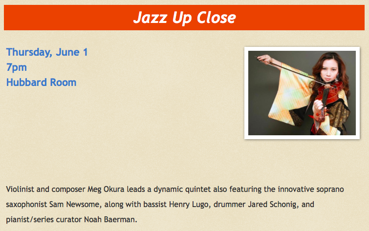 Coming on June 1: Jazz Up Close @ Russell Library