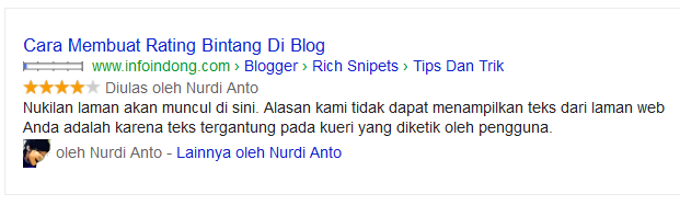 Rating bintang rich snipets individual rating